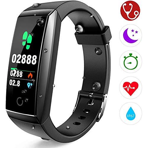 Fitness Tracker, Orologio Fitness Braccialetto Cardiofrequenzimetro da Polso Pressione Sanguigna Smartwatch GPS Contapassi Impermeabile IP67 Donna Uomo Bambini Sport Smart Watch Pedometro