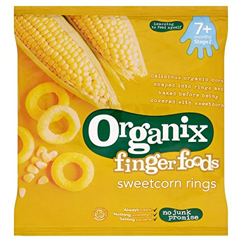 Price comparison product image Organix Finger Foods Organic Crunchy Sweetcorn Rings 20g