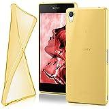 moex Sony Xperia Z2 | Hülle Silikon Transparent Gold Clear Back-Cover TPU Schutzhülle Dünn Handyhülle für Sony Xperia Z2 Case Ultra-Slim Silikonhülle Rückseite