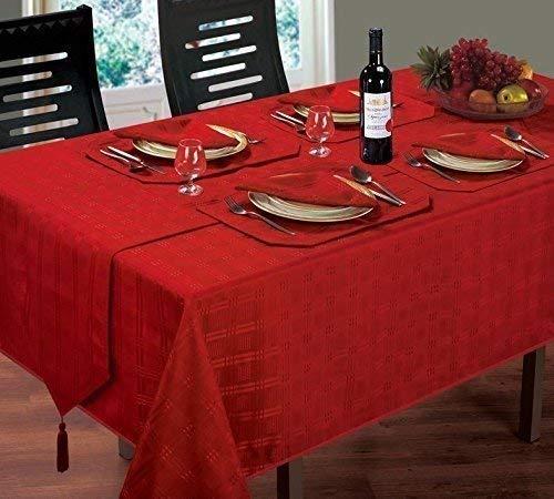 (Luxuriöse moderne Weihnachten gewebtem Karo Jacquard rot Tischdecke 132,1x 177,8cm & 4Servietten)