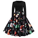 Vectry [Weihnachtskleid Damen Langarm Kleid mit Schneemann Weihnachtsmann Rockabilly Festlich Kleid Swing Kleid Faltenrock Partykleid Christmas Dress