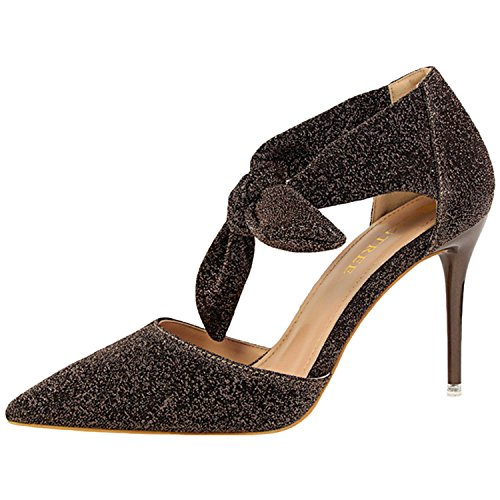 Oasap Women's Pointed Toe Stiletto Heels Bow Glitter Sandals Coffee