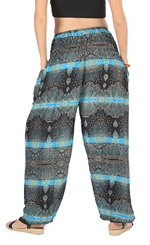 CandyHusky, pantaloni harem Aladin hippy boho gypsy per estate, spiaggia, yoga, taglia unica Ellipse Mandala Cyan