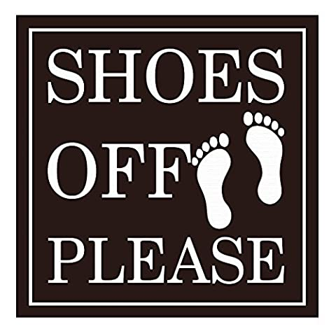 SHOES OFF PLEASE Square Wall Door Sign - Dark Brown (Large)