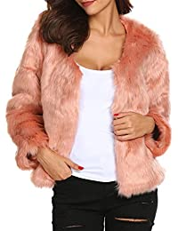 Damen Mantel Jacke Fellimitatjacke Kunstpelz Outwear Winter Warm Oberteil  Tops Coat Basic Langarm Windbreaker Oberbekleidung Schwarz c55f6f26bc