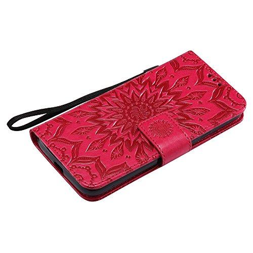 Für Moto G4 Play Case, Prägen Sonnenblumen Magnetic Pattern Premium Soft PU Leder Brieftasche Stand Case Cover mit Lanyard & Halter & Card Slots ( Color : Rose Gold ) Red