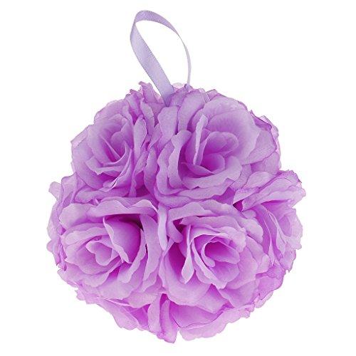 MagiDeal Hochzeit Seide Rose Blumenball PomPoms für Hochzeitsfeier - Lila, 15cm