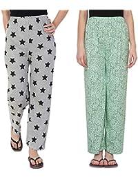 858ba8aa62 Fflirtygo Night Pyjamas for Women, Night Dress, Lounge Wear, Combo of Grey  and Green Cotton Pyjama (Pack of 2),–Soft Cotton Night Wear…
