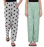 #10: FflirtyGo Night Pyjamas for Women, Night Dress, Lounge Wear, Combo of Grey and Green Cotton Pyjama (Pack of 2),–Soft Cotton Night Wear Combo Pack- Rs. 50/- Saving