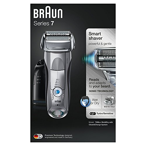 Braun Series 7 7898cc Men's Electric Foil Shaver, Wet and Dry with Clean and Charge Station, Pop Up Trimmer, Rechargeable and Cordless Razor