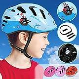 Physionics Kinderhelm für Jungen und Mädchen | Kopfumfang: ca. 52-56 cm, inkl. Einstellrad zur Anpassung, Schlagfest | Fahrradhelm, Kinderfahrradhelm, Fahrrad Radhelm, Helm Bike (Pirates)