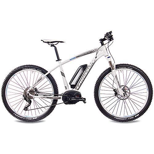 CHRISSON 27,5 Zoll E-Bike Pedelec E-Mountainbike E-Mounter 3.0 mit 10G DEORE XT Bosch PLINE CX Powerpack500 und ROCKSHOX Weiss grau matt 44 cm