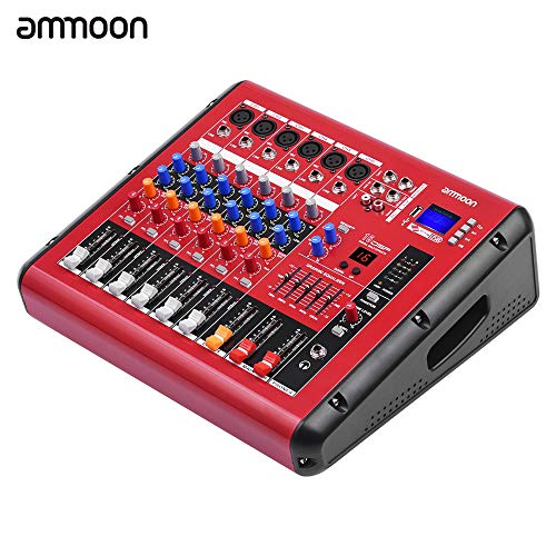 KKmoon ammoon PMR606 6-Channel Digital Audio Mixer Mixing Console with Power Amplifier Function 48V Phantom Power USB Interface for Recording DJ Stage Karaoke