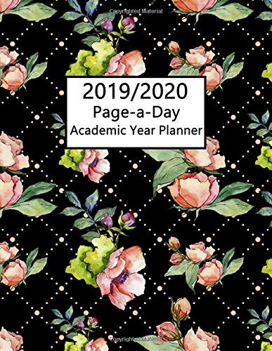Academic Planner 2019-2020 Page A Day: Calendar Year 1 Aug 2019 to 31 July 2020 Pink Roses Black Lattice Pattern Design Cover Rose Lattice