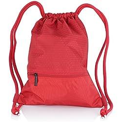 Zenwow - Bolsas de Gimnasio con Cordón, Impermeables, Bolsa de Natación de Polietileno, Mochila de Viaje para Niños y Niñas, Rojo