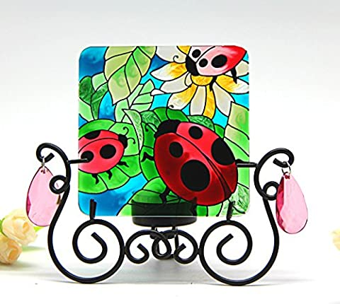 Hand Painted Art Glass Tea Light Candle Holder Table Topper Candleware Holiday Decor (Lovely Ladybug)