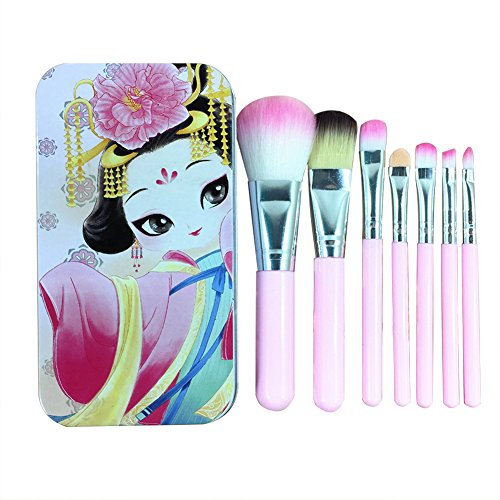 Vi.yo 7 Pcs mini pinceau de maquillage set fond de teint poudre fard à paupières pinceaux ensemble d'outils avec une boîte de fer (rose)