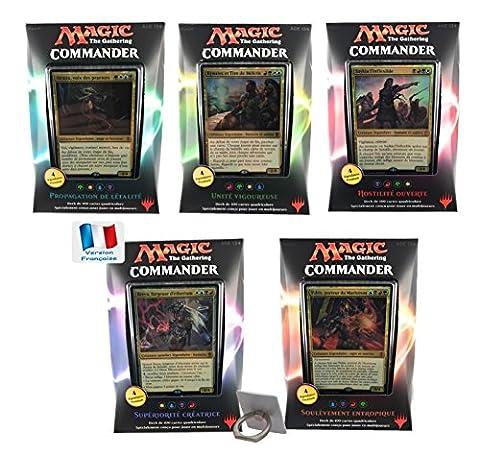 Carte Magic - Lot de 5 deck Commander 2016 assortis en Français avec 1 cadeau bonus