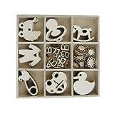 Holz Box mit 45PCS Baby Form Baby Dusche Partei Favor Danke Karte Verzierungen für Craft Dekoration–pclyq