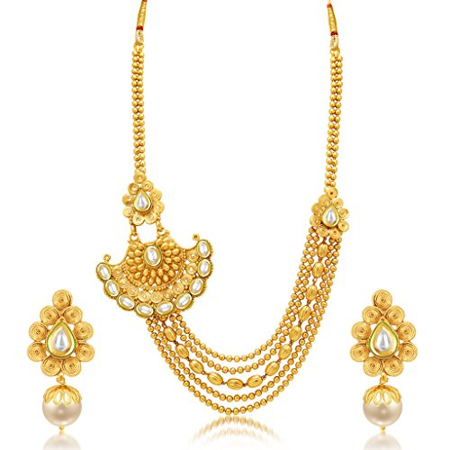 Sukkhi Ritzy Jalebi 5 String Gold Plated Kundan Necklace Set For Women