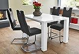 Essgruppe Tischgruppe Tisch Elton ausziehbar Hochglanz weiss + 4x Schwingstuhl Lacy schwarz