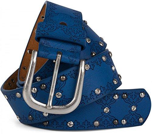 styleBREAKER Nietengürtel mit Ethno Ornament Muster, Strass und Kugel-Nieten im Vintage Design, kürzbar, Damen 03010061, Farbe:Dunkelblau;Größe:85cm Blaue Kugel Ornamente