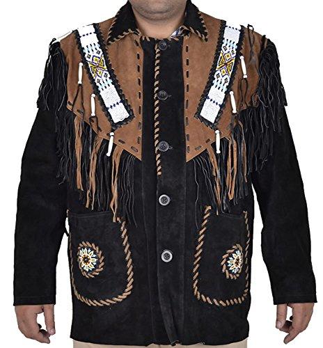 classyak Herren Fringed & Perlen Cowboy Wildleder Leder Jacke Schwarzes Wildleder
