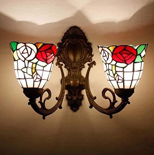 TORODWallLight Tiffany Style 2-Arm Wandleuchte 6 Zoll Glasmalerei ShadeAntique Bronze Schmiedeeisen Wandleuchten Beleuchtung für Schlafzimmer WohnzimmerGanze Lampe Breite 16Hoch 13C-D -
