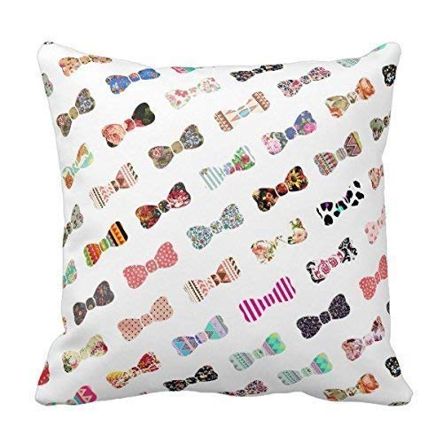 Unique Trendy Girly Colorful Patterns Cute Bows Throw Pillows Best Pillowcase Custom Zip Throw Pillow Case Cover (Standard),Cover Size:20 x 20 Inch(50cm x 50cm) Holiday Plaid Bow Tie