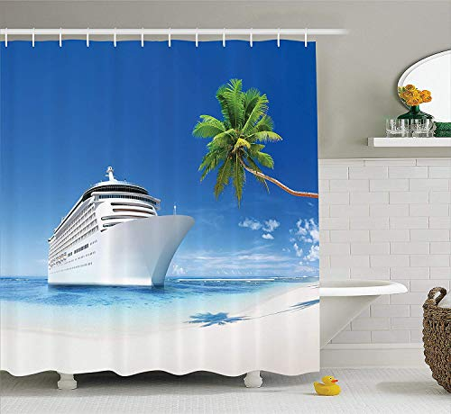 Cruise Ship Decor Collection, Ship on Coastline Palm Tree Sandy Beach Nature Sunny Day Exotic Journey Seascape, Polyester Fabric Bathroom Shower Curtain Set with Hooks, Ivory Green,66x72 inches