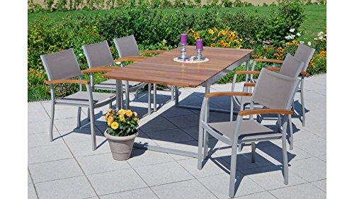 baumarkt direkt Gartenmöbelset Naxos, 6 Sessel, Tisch 150-200 cm, Alu/Textil/Holz braun