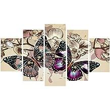 Gazechimp 5 Piezas Adorno de Pared Pintura Dibujo de Mariposa Cuadro de Pintura Arte Lona - #B