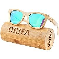 ynport crefreak Bambus Sonnenbrille Floating handgefertigt, halber Rahmen Holz leicht Eyewear Wayfarer Glas mit Geschenk Bambus Box, damen, grün