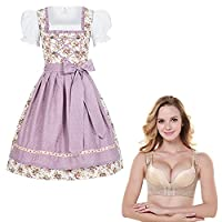 4 piece traditional Women's dirndl set Jojo with flower print and purple dots apron + Push-up Bra Shaper Size 42 XL