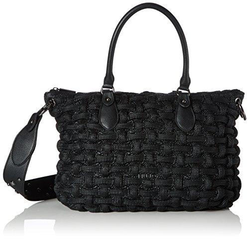 Liu Jo Anger Shopper Crinkle, Cabas femme, Schwarz (Black), 15x26x41 cm (B x H T)