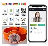 QR4g.com GPS: Pulsera ajustable identificativa con Tecnología QR NFC GPS para Niños y Mayores (Naranja)
