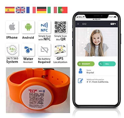 QR4g.com GPS: Pulsera ajustable identificativa con Tecnología QR NFC GPS para Niños...