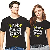 GiftsCafe Men's and Women's Couple's Cotton Best Friend Forever Printed T-Shirt Valentine Matching