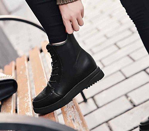 Donne UOMO Boots 2017 Inverno Europa Nuove pellicce in fiocco Zipper caldo stivali piani Black