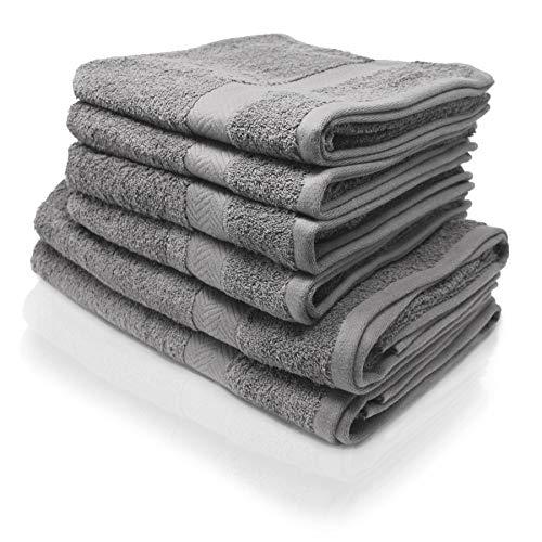 Wash Monkey Luxus Handtuch Set, 6 TLG. 4X Handtücher, 2X Duschhandtücher - 100% Frottee Baumwolle  Premium Qualität (Hellgrau)