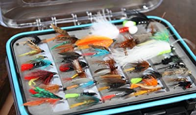 100pcs or 50 pcs x Flextec Fly Fishing Selection complete with Fly Box, Wets, Lures, Nymphs dry flies etc from Flextec