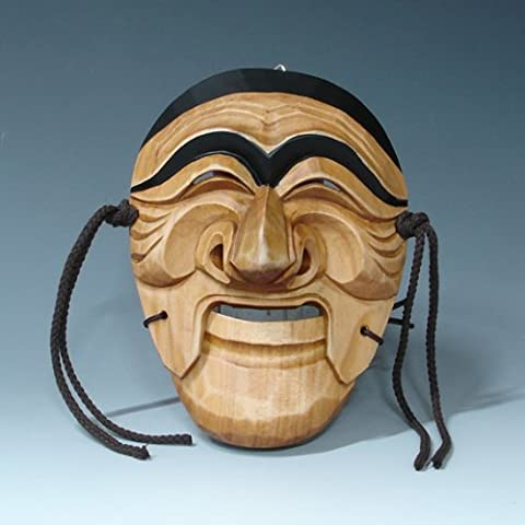 Hand Carved Korean Hahoe Man Dance Smile Wooden Wall Decor Plaque Art Decorative Hanging Asian Mask by Antique Alive Home Decor