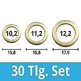 30 Stück Fitschenring- Sortiment Ø 10 / 11 / 12 mm Stahl vermessingt Unterlegscheibe Türscharnier Fitschenringe-30 Tlg.Set