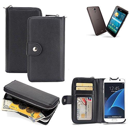 K-S-Trade 2in1 Handyhülle für ACER Liquid Z410 Plus hochwertige Schutzhülle & Portemonnee Tasche Handytasche Etui Geldbörse Wallet Case Hülle schwarz