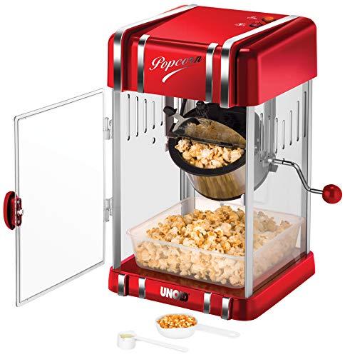 Unold 48535 Popcornmaker Retro, 300 W, antihaftbeschichteter Edelstahl-Topf, Popcorn Wie im Kino, Innenraumbeleuchtung, BPA-frei