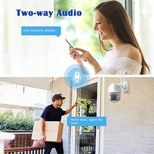 PTZ Kamera IP Dome überwachungskamera Aussen Outdoor Kamera WLAN 1080P HD IP66 Wasserfest Nachtsicht Zwei Wege Audio Bewegungserkennung unterstützt TF Karte
