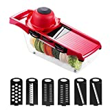 TiooDre 6+1 Multifunctional Mandoline Slicer Set Carrot Onion Slicer Potato Chopper Julienne Cutter Household Garlic Shredder Regard, Red