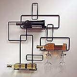 HomeZone Moderno Ferro a Parete, per 3Bottiglie di stoccaggio Bar di portabottiglie