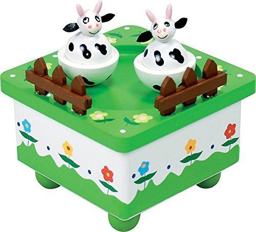 Boîte à musique en bois avec deux vaches qui tournent au rythme de la musique