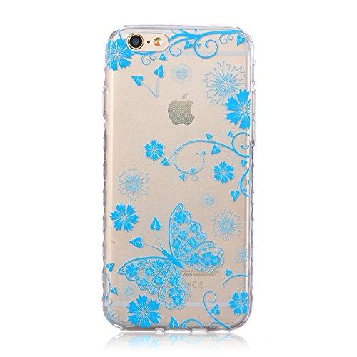 ZeWoo TPU Schutzhülle - BF031 / I Love Giraffe - für Apple iPhone 6 (4,7 Zoll) Silikon Hülle Case Cover BF043 / Blue Butterfly